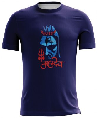 Lord Shiva Printed Casual T-shirt Blue