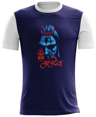 Lord Shiva Printed Casual T-shirt Blue and White