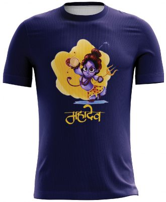 Mahadev Dry-Fit Printed Casual T-shirt Blue