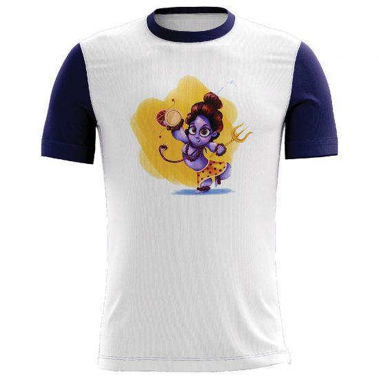 Mahadev Printed Casual T-shirt White and Blue