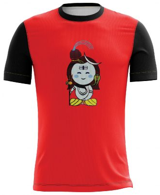 Shiva's Design Printed Casual T-shirt Red & Black